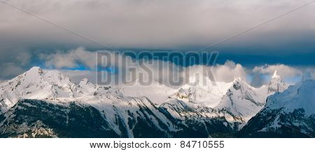 Panorama landscape mountain alps in winter