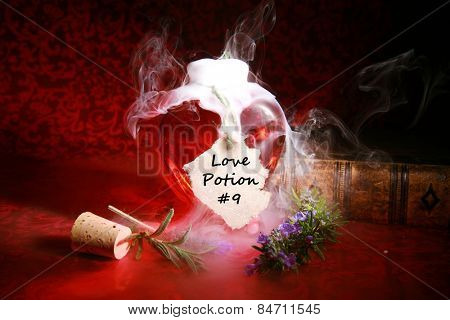 A Genuine LOVE Potion brewed up by a Gypsy, Sorceress, Fortune Teller, Witch, Match Maker, Vixen, or someone who has studied White Magic or the Dark Arts. Love Love Potion #9