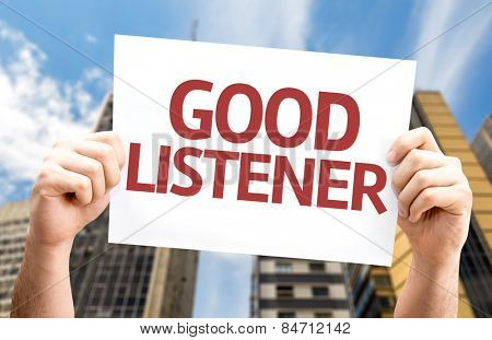 Good Listener card with urban background
