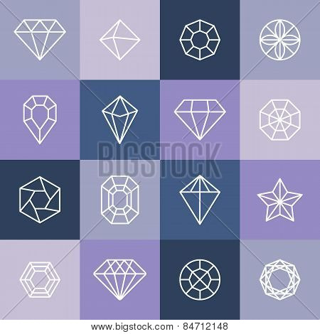 Vector Diamonds And Gems