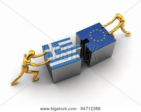 Political or financial concept of Greece struggling and finding a solution with the European union.