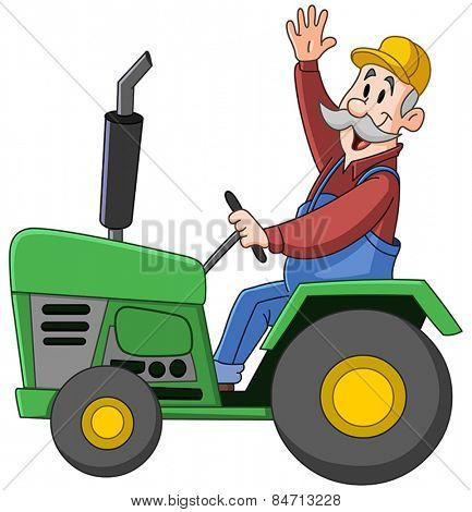 Smiling farmer driving a tractor and waving hello