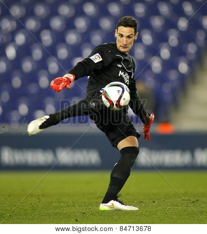 BARCELONA - JAN, 22: Sergio Rico of Sevilla FC during spanish League match against RCD Espanyol at the Estadi Cornella on January 22, 2015 in Barcelona, Spain
