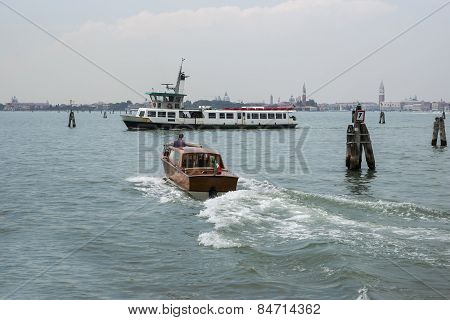 Water Bus And Taxi In Summer Venice