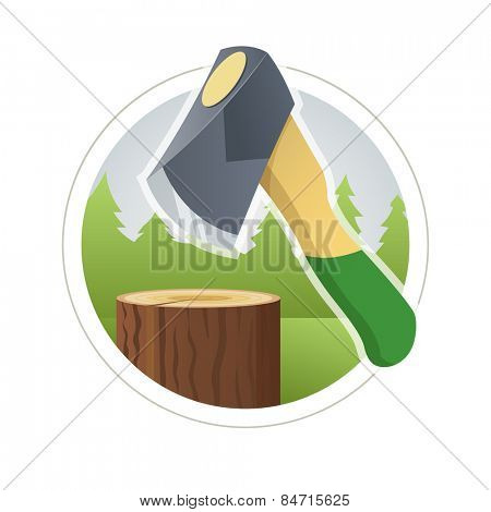 Ax chop wooden log . Vector illustration. Isolated on white background