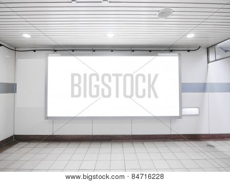 Blank billboard in underground