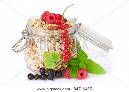 Healty breakfast with muesli and berries. Isolated on white background