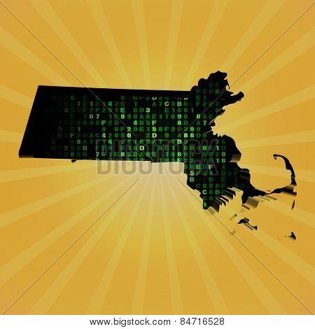 Massachusetts sunburst map with hex code illustration
