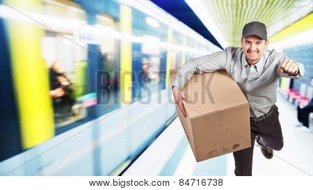 running delivery man with parcel