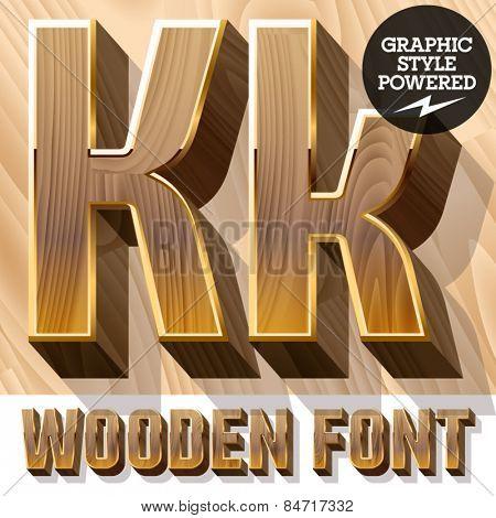 Vector set of 3D luxury wooden font in golden border. Letter K