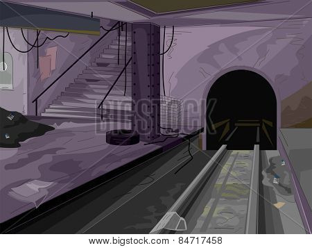 Creepy Illustration of a Dark and Abandoned Subway Station