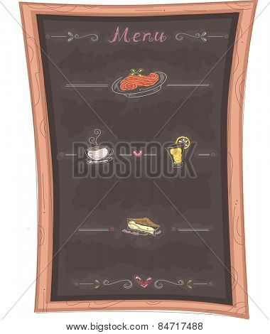 Illustration of a Chalkboard Menu Highlighting the Specialties of the Restaurant