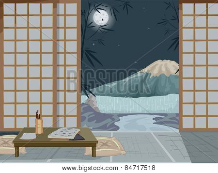 Illustration of the Interior of a Japanese Inn With a Mountain in the Background