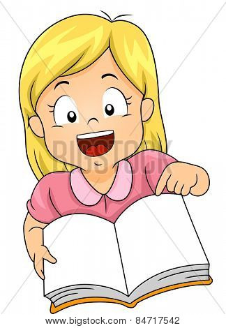 Illustration of a Little Girl Smiling Widely as She Opens a Book