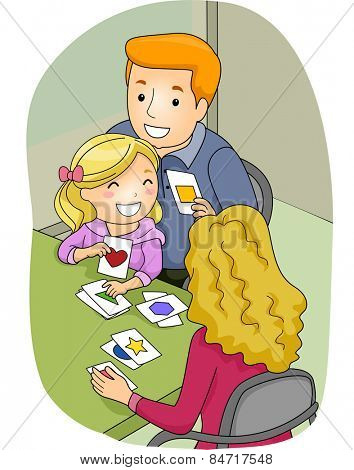 Illustration of a Father and Mother Using Flashcards to Teach Their Daughter How to Identify Shapes