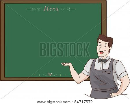 Illustration of a Waiter Presenting the Menu For the Day