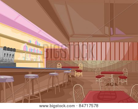 Illustration of the Interior of a Pub Still Waiting for Customers