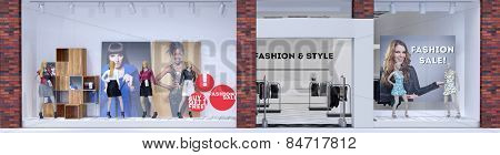 Store front of fashion boutique with display dummies showing clothing (3D Rendering)