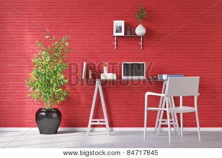 Desk in home office with laptop computer in front of a red wall (3D Rendering)