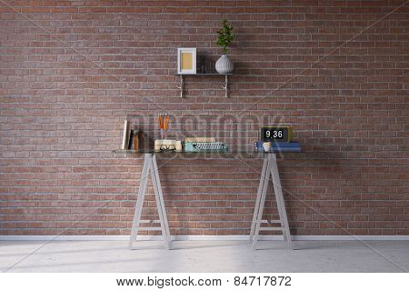 Retro desk with typewriter in vintage look in front of a brick wall (3D Rendering)