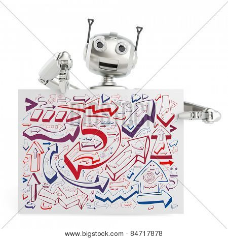 3D robot holding billboard sign with many arrows as strategy and planning concept (3D Rendering)