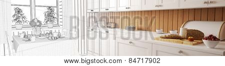 Planning of a kitchen with CAD wireframes and breakfast table transforming to 3D Rendering