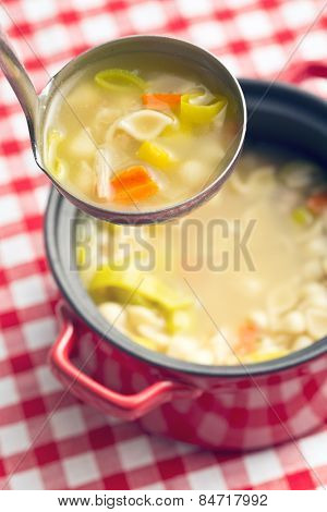 vegetable soup with pasta in soup ladle