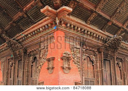 PATAN, NEPAL - APRIL 2014 : Detail of the Kumbeshwar Temple on 13 April 2014 in Patan, Nepal. Kumbeshwar Temple is the oldest temple in Patan which was built in 1392.