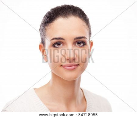 Smiling Beautiful Woman On White Background