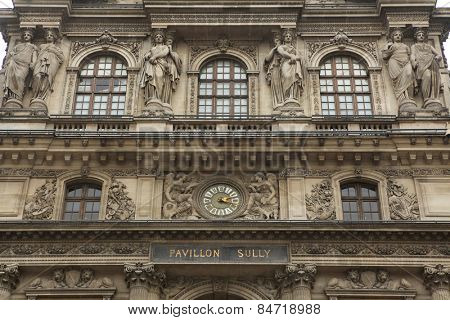 Renaissance facades of the Louvre Museum in Paris, France.