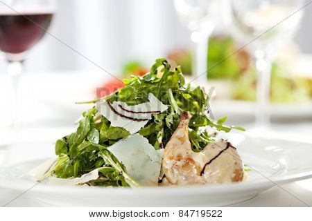 Salad with Quail Wings and Parmesan Cheese