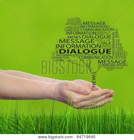 Concept conceptual tree word cloud tagcloud, man or woman hand on blur green background, metaphor to communication speech, message, mail, dialog, talk, contact, email, connection, news or internet