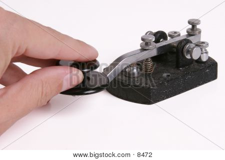 Morse Code Key With Hand