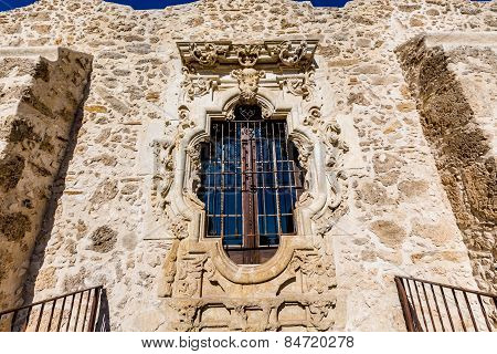 The Famous Rose Window of the Historic Old West Spanish Mission San Jose, 1720, San Antonio, Texas