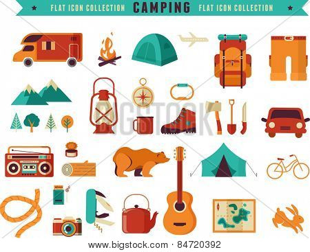 Hiking, mountain climbing and camping equipment  - icon set and infographics