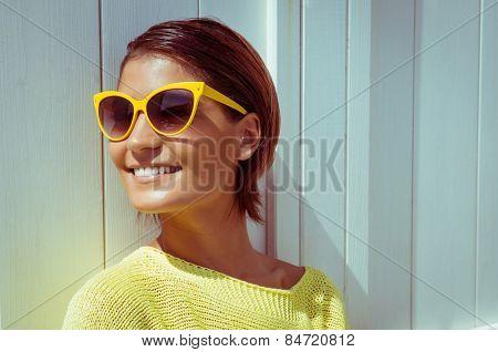 Portrait Of Beautiful Woman Wearing Sunglasses