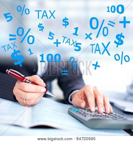 Hands of accountant businessman with calculator. Accounting background