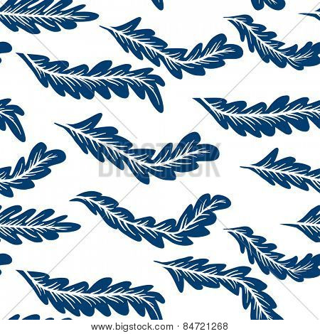 Abstract feathers seamless indigo pattern