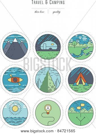 Vintage set - design elements - travel & camping, thin line & color ( variable line width )