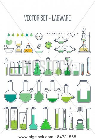 Vector set - chemical designer. Flat design. Variable thickness of lines