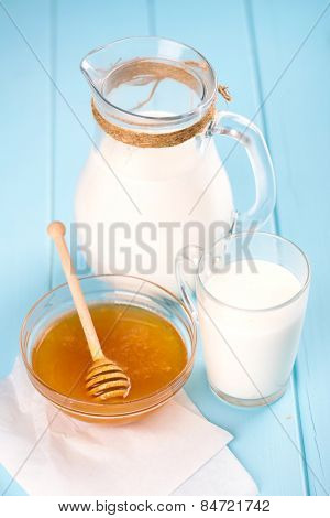 jug with milk and honey