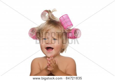 Little Laughing Girl With Hair Curlers