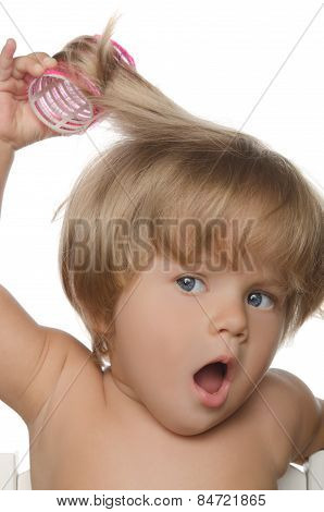 Little Surprised Girl With Hair Curlers