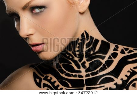 Portrait Of Attractive Young Woman, Black Body Art