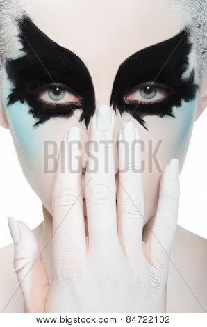 Face Of Beautiful Woman, Black And White Makeup