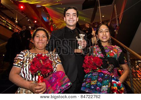 BERLIN, GERMANY - FEBRUARY 14: M. Telon, director J. Bustamante, M. M. Coroy . Closing Ceremony. 65th Berlinale International Film Festival at Berlinale Palace on February 14, 2015 in Berlin, Germany.