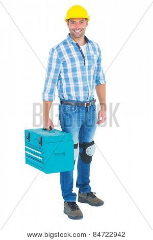 Full length portrait of repairman with toolbox on white background