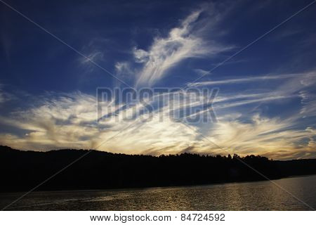 Beautiful Twilight, Sunset, Cloudy Sky Over The River
