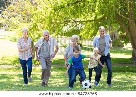 Happy family playing at the ball on a sunny day