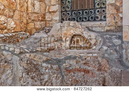 The Rock of the Agony outside of the Church of all Nations in Jerusalem, Israel.